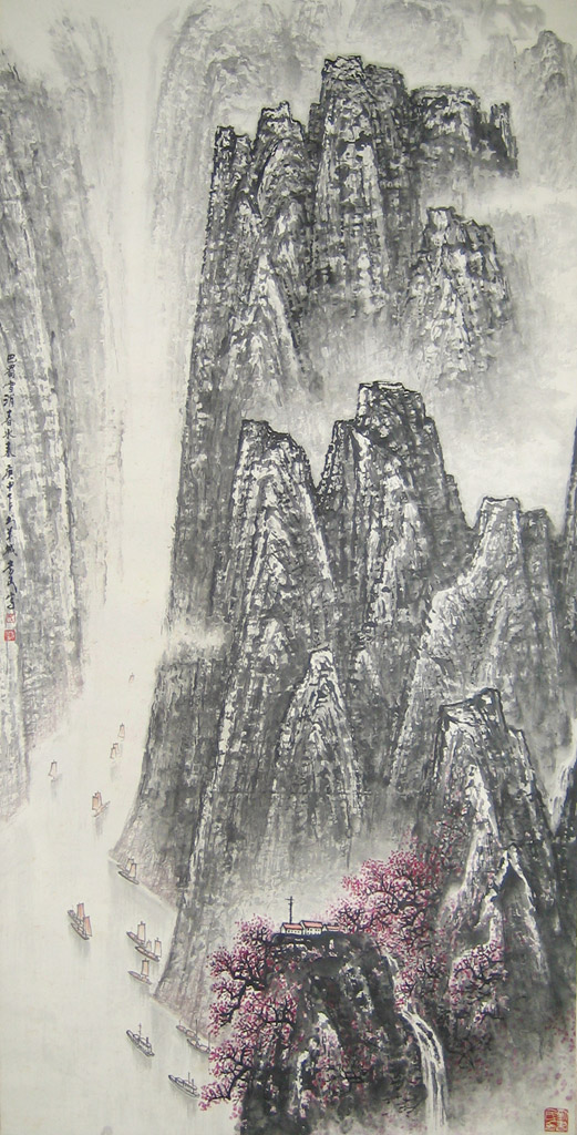Spring Mountains. Dated Spring 1980. Painted in Guangzhou. Inscribed and signed with 2 artist seals. Scroll. Ink and color on paper 68 x 138 cm