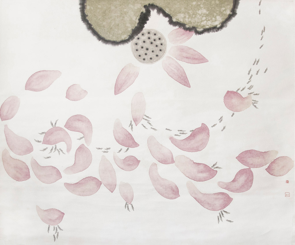Li Changyi. Fishes and Lotus. Ink on paper 120 x 145 cm